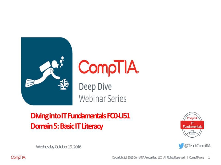 ITF Domain 5: Basic IT Literacy Deep Dive Series