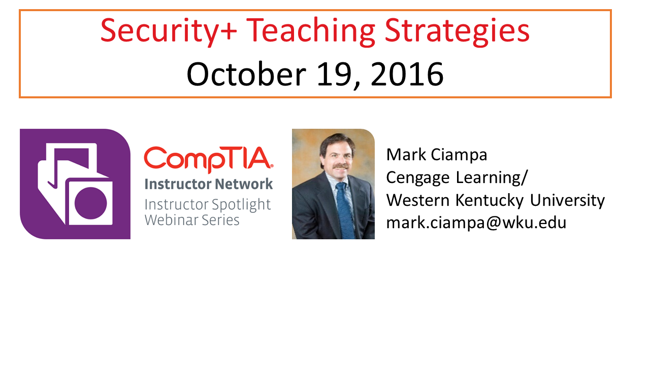 Security+ Teaching Strategies