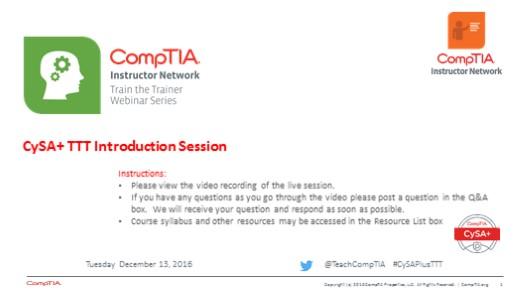 Course Intro - CySA+ Train the Trainer