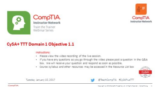 Domain 1 Session 1  CySA+ TTT