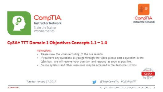 Domain 1 Session 3 - CySA+ TTT