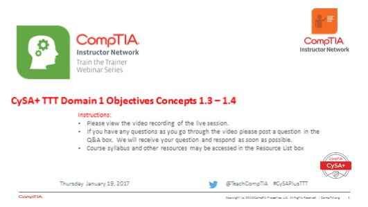 Domain 1 Session 4 CySA+ TTT