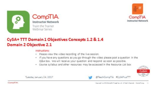 Domain 1 & 2 Session 5 - CySA+ TTT