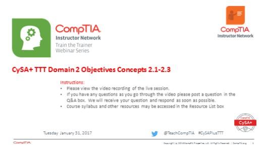 Domain 2 Session 6 - CySA+ TTT