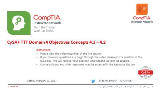 Domain 4 Session 11 - CySA+ TTT