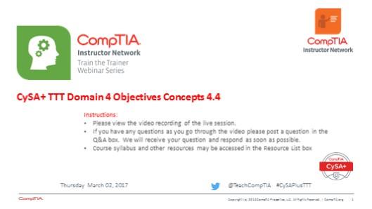 Domain 4 Session 13 - CySA+ TTT