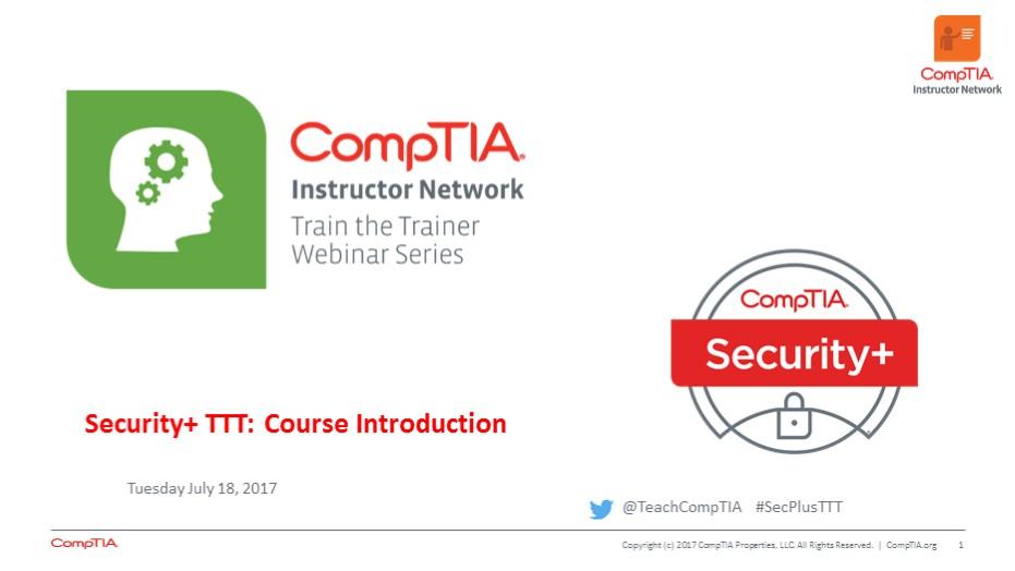 Security+ TTT Session 1: Introduction