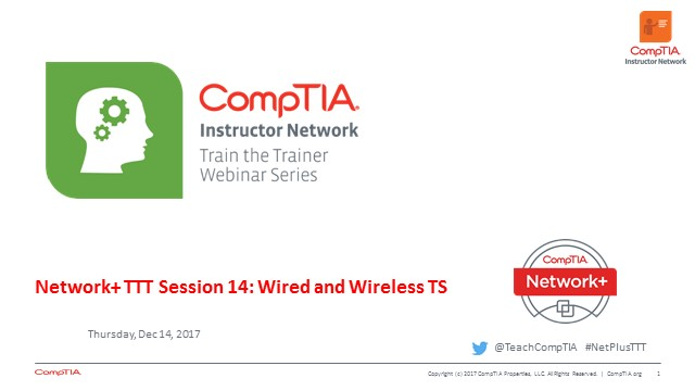 Network+ TTT - Session 14: Troubleshooting Connectivity and Performance  Troubleshooting Wireless