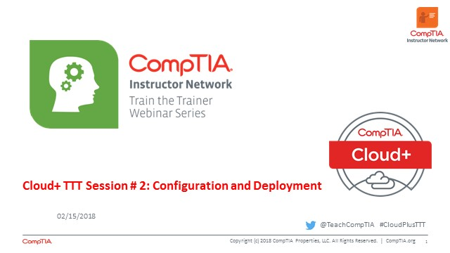 Cloud+ TTT  - Session 2: Configuration and Deployment