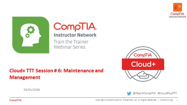 Cloud+ TTT - Session 6:  Maintenance and Management