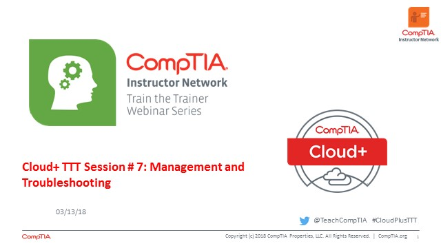 Cloud+ TTT - Session 7: Management & Troubleshooting