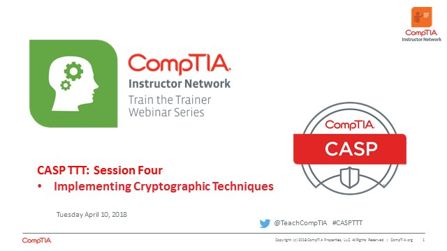 CASP TTT Session 4: Cryptographic Techniques