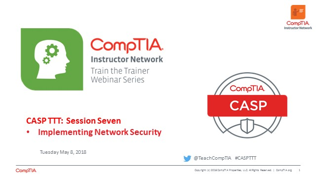 CASP TTT Session 7: Network Security cont