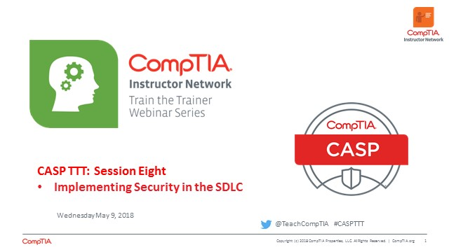 CASP TTT Session 8: SDLC