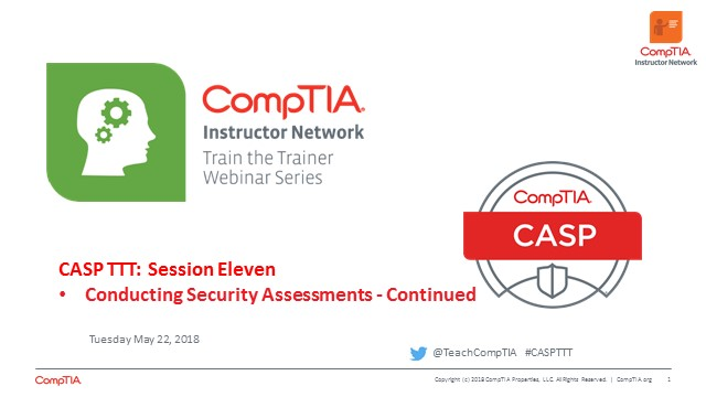 CASP TTT Session 11: Security Assessments cont.