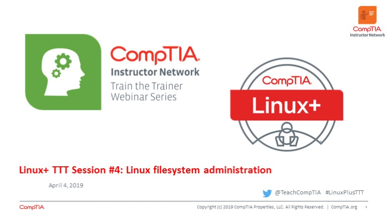 Linux+ TTT Session 4: Linux Filesystem Administration